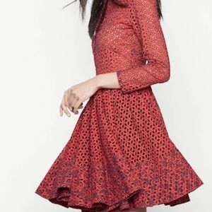 Maje Rayano Tomette red eyelet lace embroidered